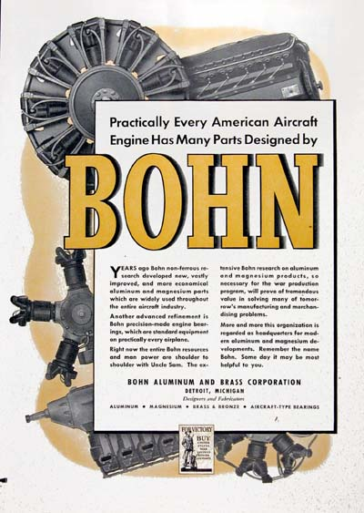 1942 Bohn Aircraft Engines Vintage Ad #000384