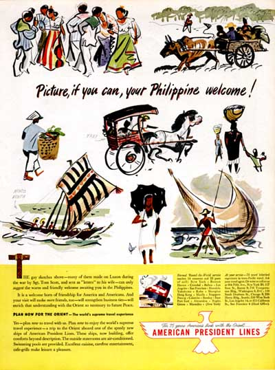 1946 APL Phillipine Cruise Vintage Ad #000423