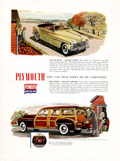 1949 Plymouth Convertible & Woody Vintage Ad #000484