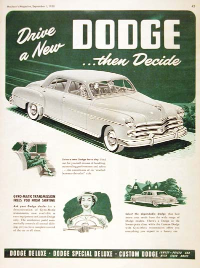 1950 Dodge Custom Sedan Vintage Ad #000489