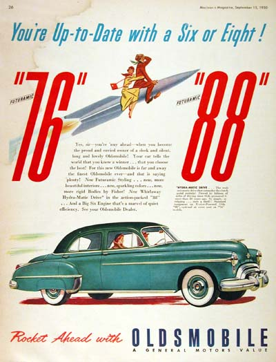 1950 Oldsmobile Futuramic Sedan Vintage Ad #000492