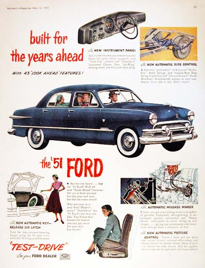 1951 Ford Custom Sedan Vintage Ad #000517
