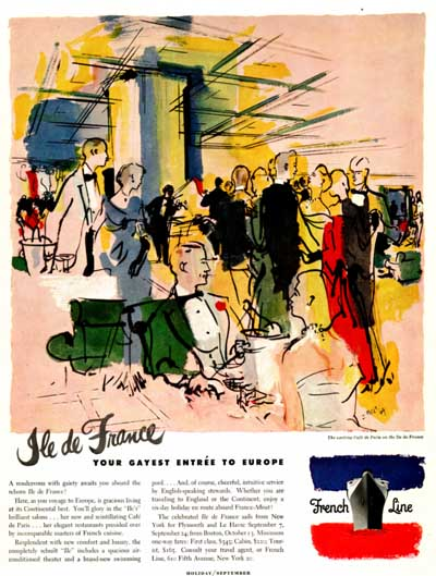 1951 French Cruise Line Vintage Ad