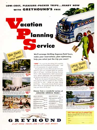 1951 Greyhound Bus Vintage Ad #000537