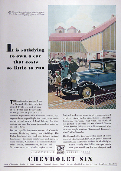 1931 Chevrolet Six Sedan Vintage CDN Ad #025817