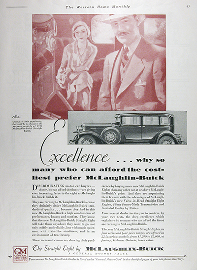 1931 McLaughlin Buick Straight Eight Vintage Ad #025813