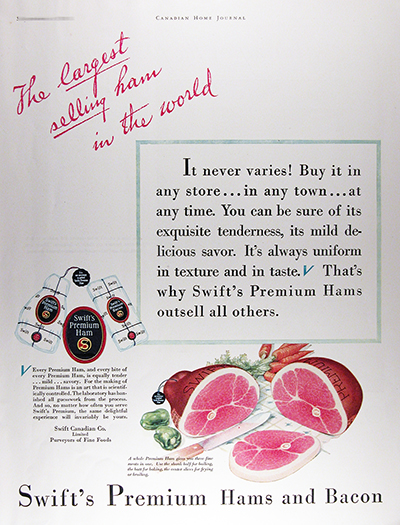 1931 Swift's Ham & Bacon Vintage CDN Ad #025821