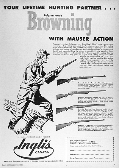 1950 Browning Rifles Vintage CDN Ad #025839