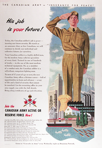 1950 Canadian Army Recruitement Vintage CDN Ad #025844