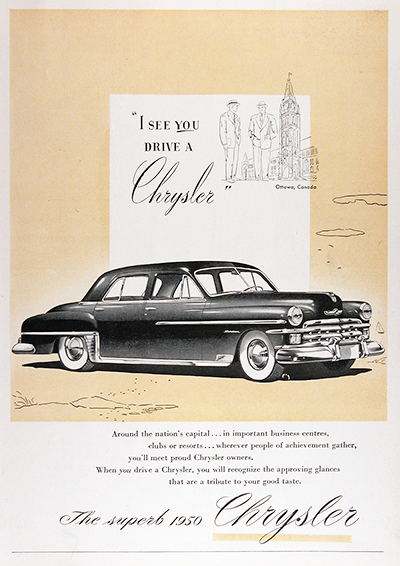1950 Chrysler Windsor Sedan Vintage CDN Ad #025833