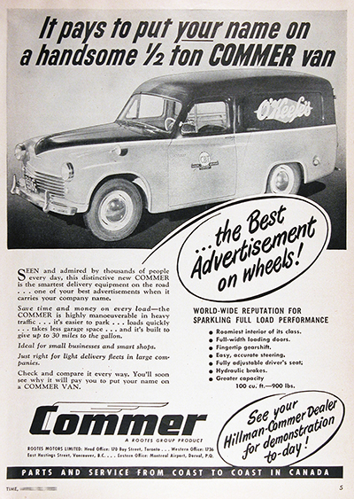 1950 Commer Panel Delivery Van Vintage AD #025510
