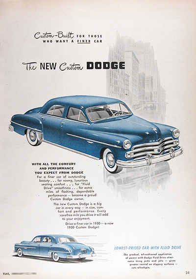 1950 Dodge Custom Sedan Vintage CDN Ad #025846