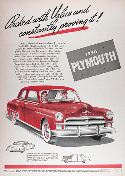 1950 Plymouth Special Deluxe CDN Vintage Ad #025824