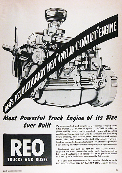 1950 REO Gold Comet Truck Engine Vintage CDN Ad #025823