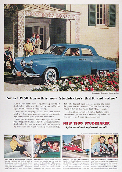 1950 Studebaker Champion Sedan Vintage CDN Ad #025822