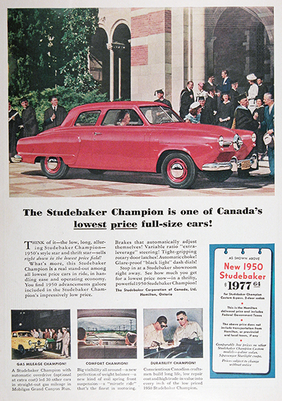 1950 Studebaker Champion Coupe Vintage Print Ad #025524