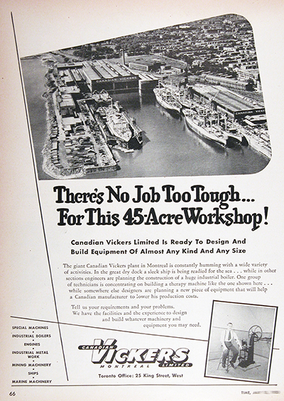 1950 Canadian Vickers Montreal Drydock Vintage Ad #025518