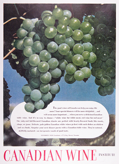 1951 Canadian Wine Institute Vintage Ad #025533