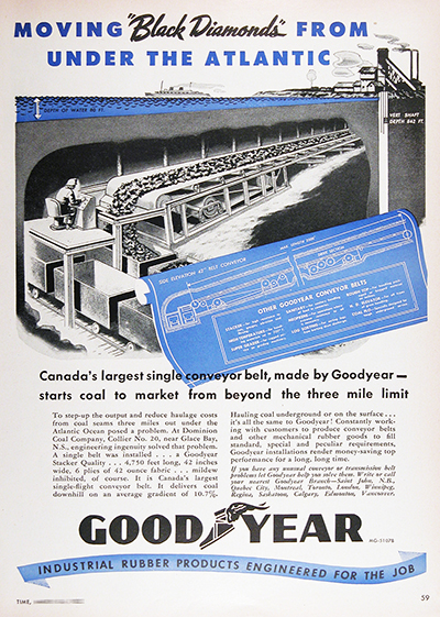 1952 Goodyear Conveyor Belt Vintage Ad #025542
