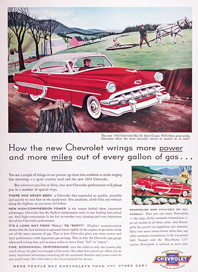 1954 Chevrolet Bel Air Sport Coupe Vintage Ad #025555
