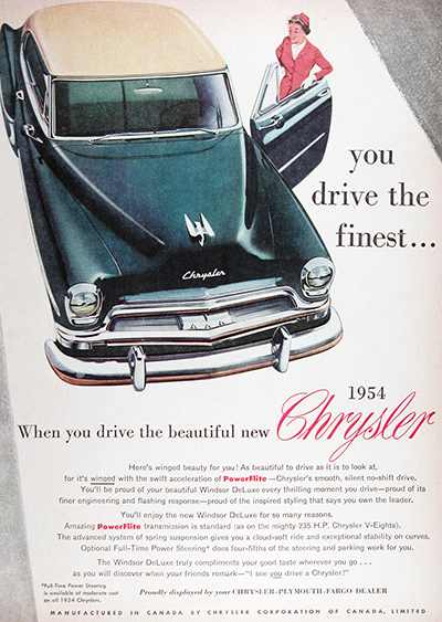 1954 Chrysler Windsor Deluxe Sedan Vintage Ad #025556