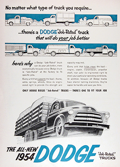1954 Dodge Job Rated Trucks Vintage Ad #025550