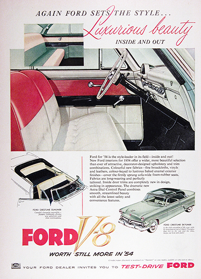 1954 Ford Monarch Crestline Vintage Ad #025558
