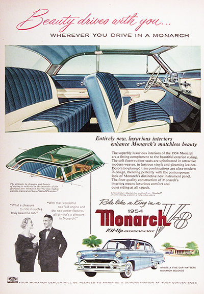 1954 Ford Monarch Lucerne Sun Valley Vintage Ad #025561