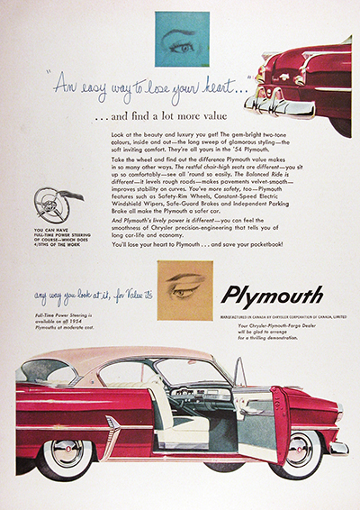 1954 Plymouth Belvedere Coupe Vintage Ad #025568