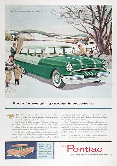 1955 Pontiac Chieftain Station Wagon Vintage Ad #025598
