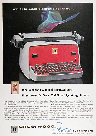 1958 Underwood Typewriter Vintage Ad #023