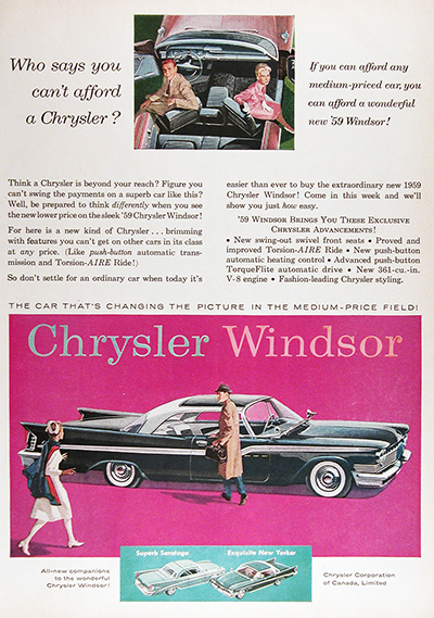 1959 Chrysler Windsor Coupe Vintage CDN Ad #025921