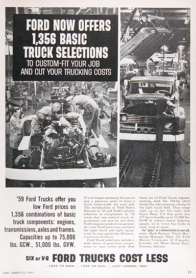 1959 Ford Trucks Assembly Line Vintage CDN Ad #025947