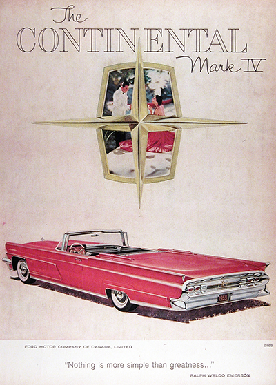 1959 Lincoln Continental Mark IV Convertible Vintage Ad #025916