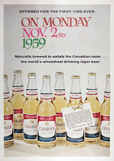 1959 Molson Canadian Beer DEBUT Vintage Ad #025929