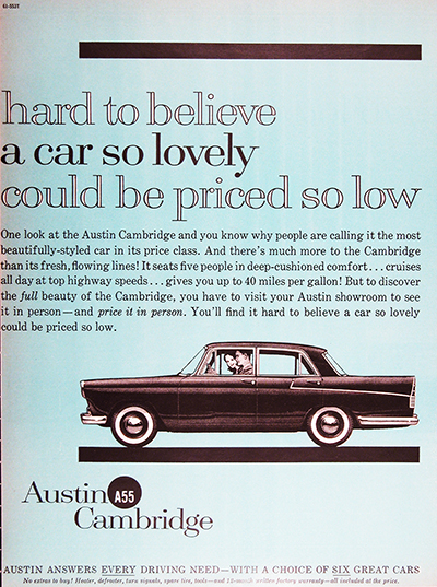 1961 Austin Cambridge A55 Sedan Vintage Ad #025725
