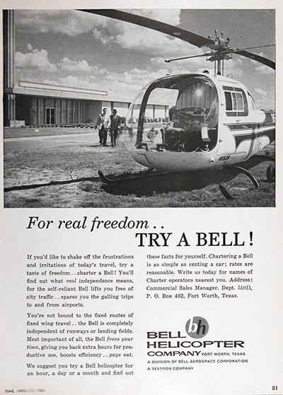 1961 Bell Helicopter Vintage Ad #025729