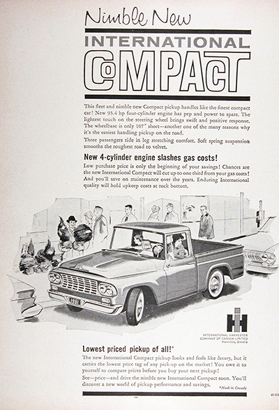1961 International Compact Pickup Truck Vintage Ad #025736