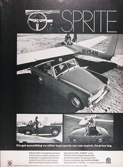 1969 MG Sprite Convertible Vintage Ad #026026