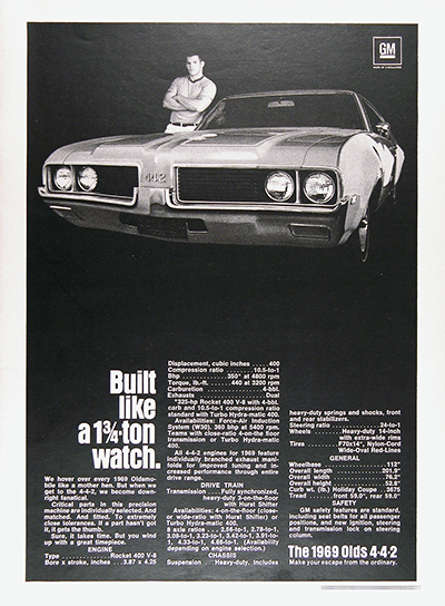 1969 Olds 442 Genuine Vintage Ad #026047