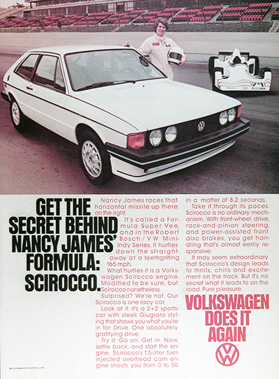 1979 VW Scirocco Nancy James Vintage Ad #026002