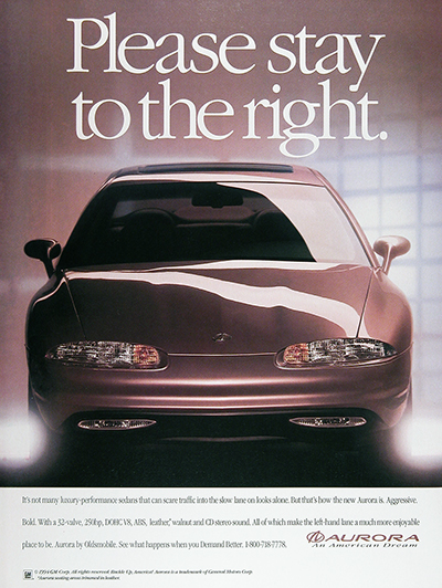 1995 Olds Aurora Sedan Vintage Ad #025951