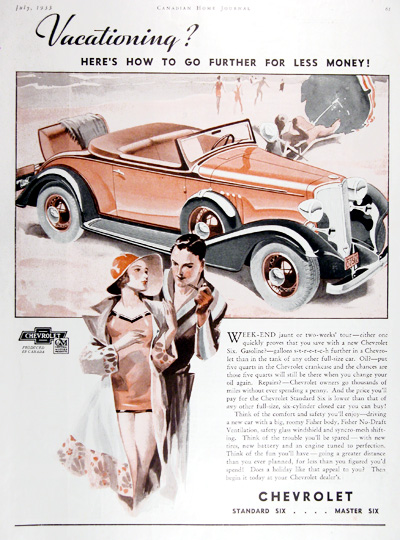 1933 Chevrolet Open Roadster Vintage Ad #014385