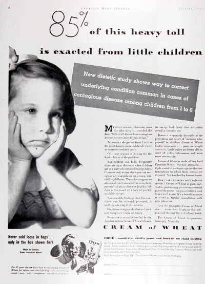 1933 Cream of Wheat Cereal Vintage CDN Ad #009949