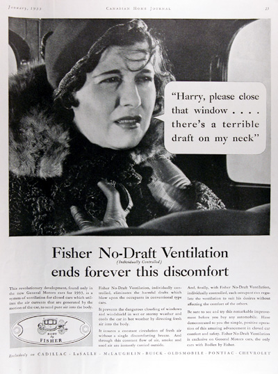 1933 Fisher Body Ventilation Vintage Ad #009952