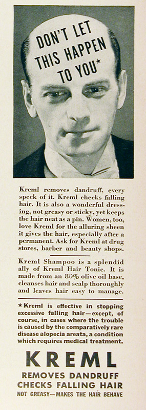 1939 Kreml Hair Loss Treatment Vintage Ad #025497