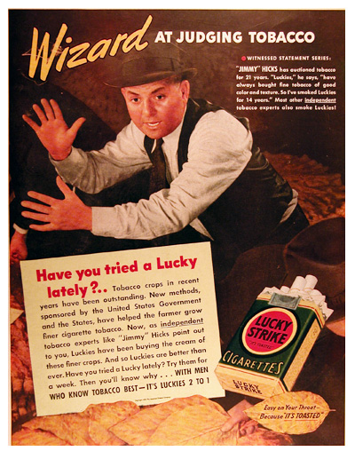 1939 Lucky Strike Cigarettes - Jimmy Hicks Vintage Ad #025492