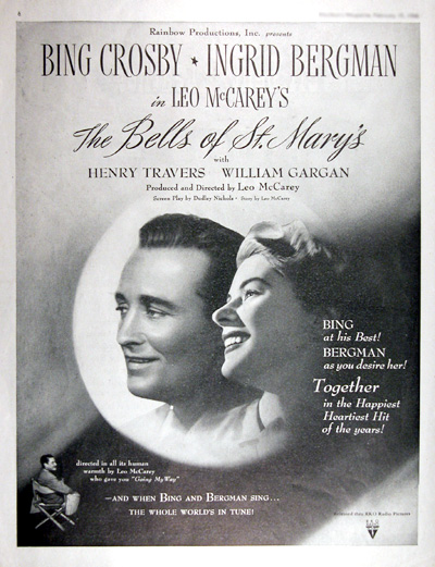 "1946 ""The Bells of St. Mary's"" Vintage Move Print Ad #025418"