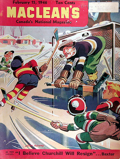 1946 Maclean's Magazine Cover - Winter Hockey Scene #025414