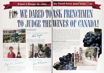 1954 Canadian Wines Vintage Ad #025383